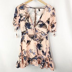 ZC Woman Plunge Floral Dress Pink Size Small